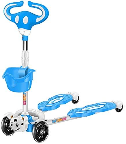 JAXT. Kinderroller, Scooter mit extra breit PU. Beleuchtungsräder und Höhen höhenverstellbare Höhe (Color : Blue)