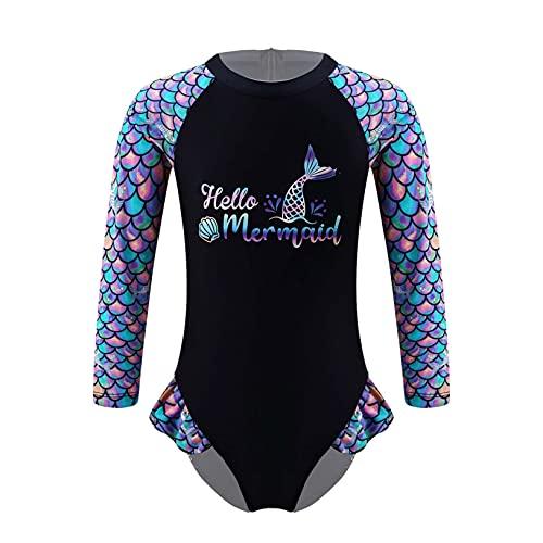 Freebily Baby Mädchen Einteiler Badeanzug Langarm UV-Schutz Bademode Schwimmanzug Kleinkind Badebekleidung Schwarz E 92-98