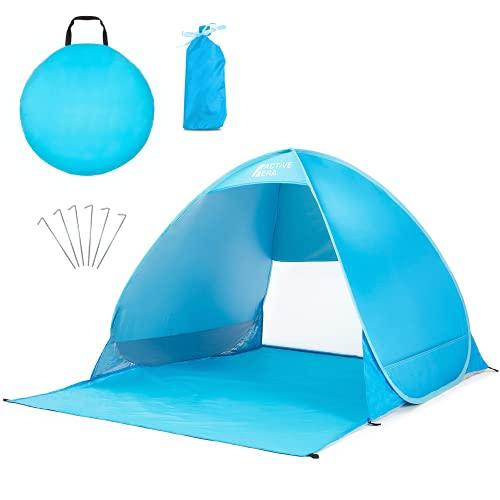 Active Era Pop-Up Strandmuschel - UPF 50+ Strandzelt für UV-Schutz & Windschutz am Strand, inkl. Tragetasche und Heringe (Blau)