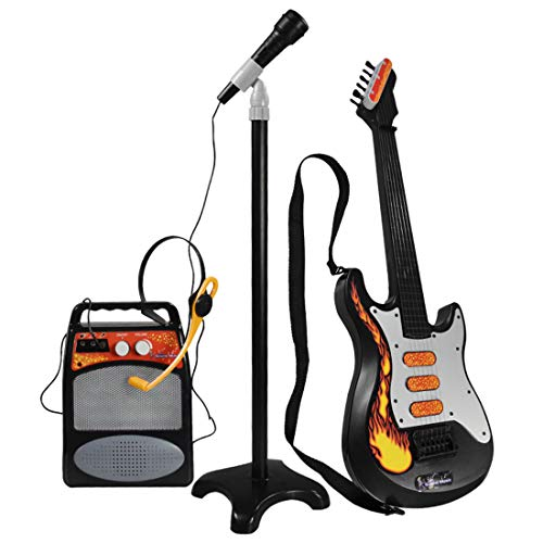Gitarre Mikrofon Kinder, 6-saitige Gitarre für Kinder mit Mikrofonlautsprecher, Kindergitarre 4 5 6 7 8 9 10 Jahre alt, Gitarre Elektrisch Kinder