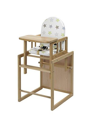 Geuther - Kombi-Hochstuhl Nico, 2in1, Stuhl-/Tisch-Kombination oder Hochstuhl, hoher Rücken, mit Sicherheitsgurt, natur, Sterne
