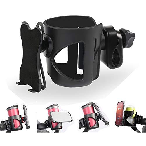 Getränkehalter Kinderwagen Buggy, 2 in 1 Kinderwagen Becherhalter & Handyhalter, Universal Getränkehalter Fahrrad Flaschenhalter für Trinkflaschen Nuckelflaschen Kaffeehalter Handy, 4.5cm Breiter Clip