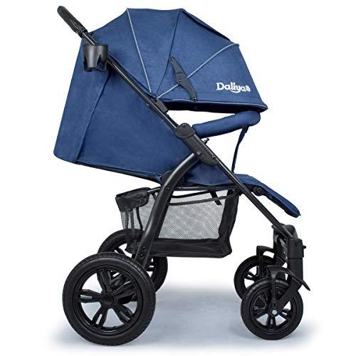 Daliya® Variyo Buggy Kinderwagen Jogger XXl Sonnenverdeck Lederbezug Kautschuk Hartgummi Räder (Set 00, Dunkel Blau)