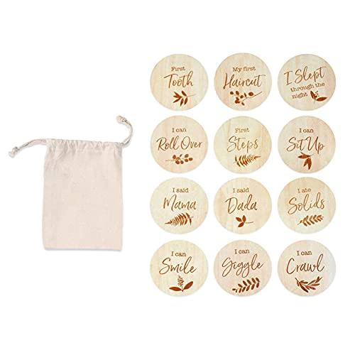 12PCS Meilensteinkarten aus Holz, Meilensteinkarten für Ihr Baby tolles Geschenk für Schwangerschaft, Geburt & Babyparty mit Aufbewahrungstasche, Durchmesser 10cm