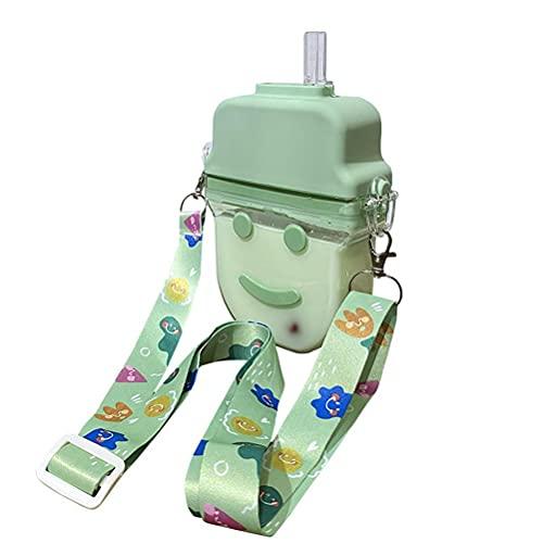 WINBST Lernbecher mit Strohhalm, 300ML BPA frei Süße Popsicle Cup mit Gurt, Trinklernflasche für Kinder Erwachsene auslaufsichere Plastik Trinkwasser Flaschen Wasserkrug