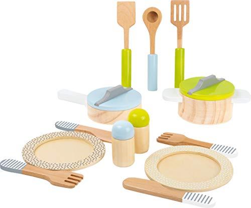small foot 11098 Geschirr- und Topfset 'Kinderküche' aus Holz, perfekte Ergänzung zu jeder Spielküche, 15-teilig