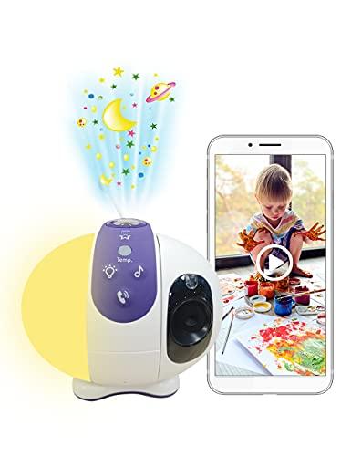 WLAN Babyphone mit Kamera, 1080P Video Baby Monitor mit Sternenhimmel Projektor, Einstellbares Nachtlicht, 16 Schlaflieder, VOX, Thermometer, HiKam Babyfon, Support in Deutschland