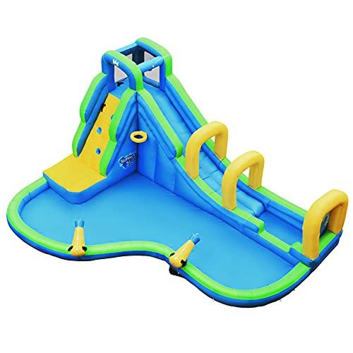 GOPLUS Aufblasbares Wasserspielcenter, Wasserpark mit Rusche/planschbecken/Kletterwand/Baketballfelge, Kinder Aufstellpoo für Kinder 4-12 Jahre, Spielpool, 478x366x242cm