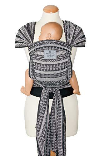manduca Twist Babytrage  bellybutton Boho Black  Babytrage und Babytragetuch für Neugeborene & Babys I Bio-Baumwolle I Träger zum Auffächern I Weicher Bauchgurt I schwarz-weiß (Jaquard-Muster)