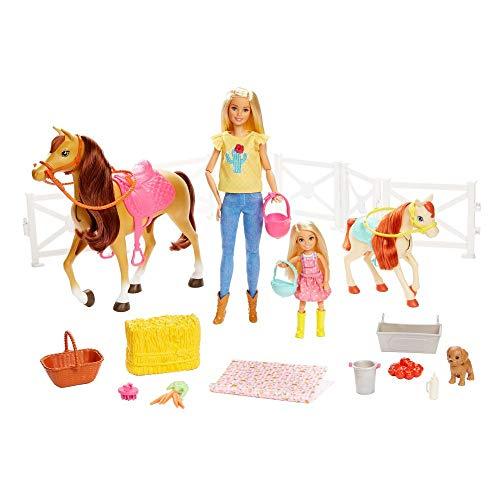 Barbie GLL70 - Reitspaß Spielset mit Barbie (blond), Chelsea, Pferd und Pony, Puppen Spielzeug ab 3 Jahren, Abweichungen in Verpackung vorbehalten
