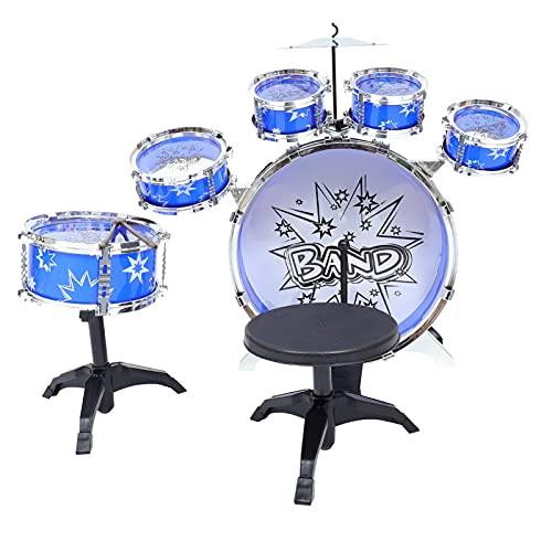 Generic 1 Set Kinder Trommel Spielzeug Set Musik Instrument für Kinder Pädagogisches Spielzeug Jazz Trommel Spielzeug Mini Drum Set ( Blau )