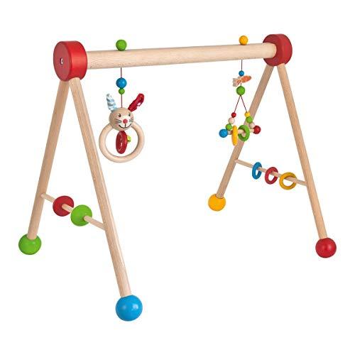 Eichhorn, Baby Gym, mit Spiel und Greiffunktion, Spieltrapez mit farbigen Hängeelementen und Holzkugeln, aus FSC 100% zertifiziertem Buchenholz, 46x56x42 cm, Hergestellt in Deutschland, ab 3 Monaten