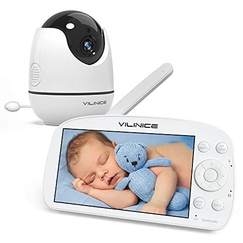 5,5 Zoll Babyphone mit Kamera, Vili Nice 720P HD Video Baby Monitor Wireless, VOX, Nachtsicht, Gegensprechfunktion, 300M Reichweite, Temperatur Überwachung, Schlaflieder, 5000 mAh Wiederaufladbar Akku