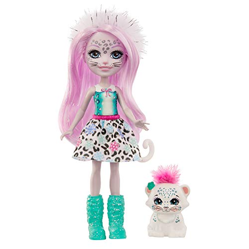 Enchantimals GJX42 - Enchantimals Sybill Snow Leopard Puppe (ca. 15 cm) und Flake Tierfreund Figur