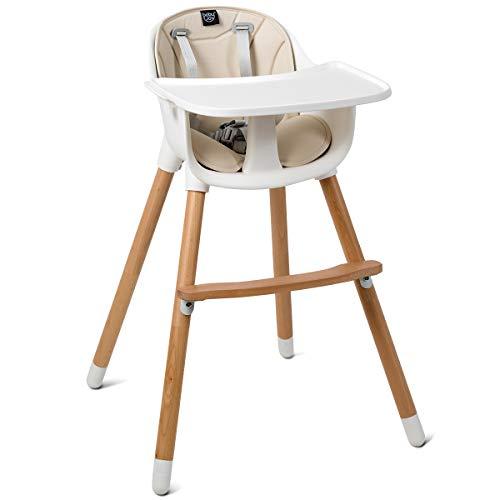 Maxmass Verstellbarer Baby-Hochstuhl, Kleinkind-Esszimmersitze mit 5-Punkt-Sicherheitsgurt, herausnehmbares Tablett, PU-Kissen und Buchenfüßen, Sitzerhöhung für 6 Monate bis 3 Jahre