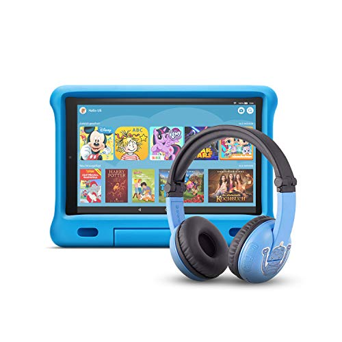 Fire HD 10 Kids Edition-Tablet (32 GB, blaue kindgerechte Hülle) mit PlayTime-Bluetooth-Headset (Altersklasse: 3-7 Jahre)