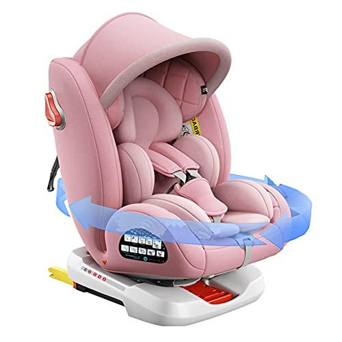 OPW Baby Autositz Verstellbare Autokindersitze Gruppe 0+/1/2/3 Mit Markise ISOFIX+ Verriegelung 360°-Drehung Seitenaufprallschutz (0-36 kg/0-12 Jahre),Rosa