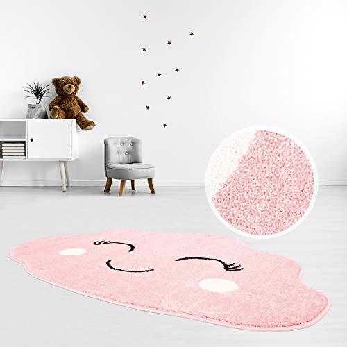 MyShop24 Kinderteppich Teppich Flachflor 100x150cm Pastell Pink Fröhliche Wolke Wolkenform für das Kinderzimmer Oeko-Tex Standard 100