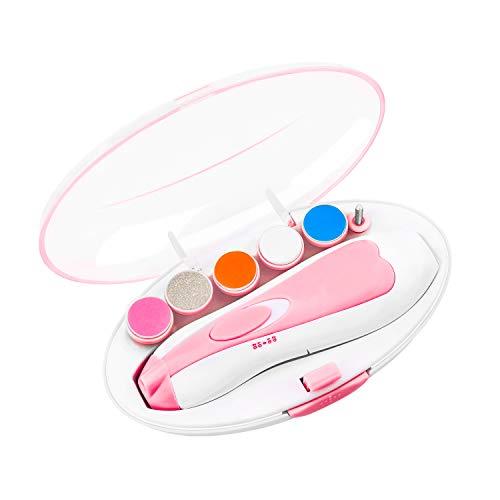 ATUIO - Baby Nagelfeile, Baby Nagelknipser, Elektrischer Baby Nagelfeile mit LED, [Sicher und Leise], Baby Nagelfeile mit 6 Schleifköpfen für Neugeborene, Kleinkinder, [Rose]