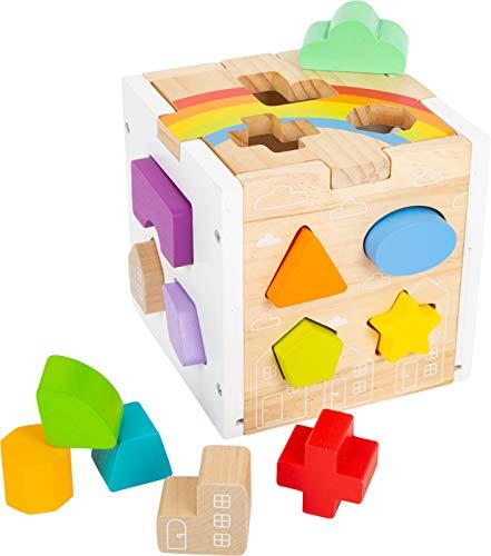 small foot 11777 Steckwürfel Regenbogen, 13 unterschiedlich geformte Steckelemente aus Holz, ab 12 Monaten Toys