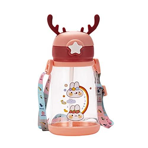 Trinkbecher Für Baby Baby Trinklernflasche - 2 In 1 Trinkbecker - Tragbare Auslaufsichere Trinkflasche Für Kinder Auslaufbecher Mit Strohhalm Und Tragbarer Griff Für Kleinkinder - 600ml BPA-frei