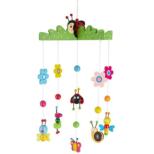 Bieco 3D Baby Mobile Käferchen aus robustem Holz   Viele bunte Tiere und Blumen   Blickfang am Babybett, Kinderbett   Wickeltisch oder am Spielbogen   Für Babys ab 0 Monaten   Einschlafhilfe