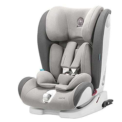 APRAMO Eros mitwachsender Kinderautositz Gruppe 1/2/3 (9-36kg), 5 Punkt Sicherheitsgurt Autositz, mit Seitenschutz und Verstellbarer Kopfstütze Kindersitz, ab 9 Monate bis 12 Jahre (Grau)