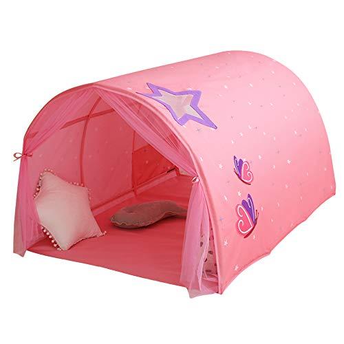 Kinderzelt für Mädchen Jungen E-More Spielzelt für Kinder Galaxie Sternenhimmel Spielhaus Zelt Kinder Pop up Zelt mit doppeltem Netzvorhang und Tragetasche für Indoor Outdoor Spiele Rosa140x100x80cm