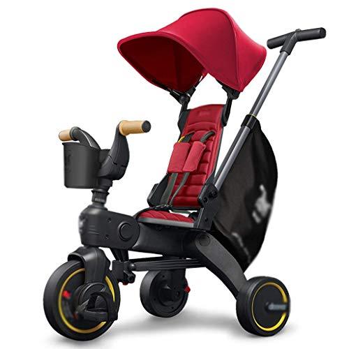 hjj Kinderwagen Kinderwagen Kinderwagen Kinderwagen Kinderwagen Faltbare Reiten Dreirad mit Pedalen, Verstellbare Griffe, 0-3 Jahre alte Kinderwagen (Farbe: rot) jianyou (Color : Red)