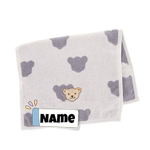 Steiff Seiftuch | Baby Steiff Handtuch personalisiert | Baby Seiftuch | 30 x 50 cm | Kinderhandtuch mit Name | Babyhandtuch mit Namen | Badetuch Bestickt mit Name | Baby Erstausstattung (Teddy grau)