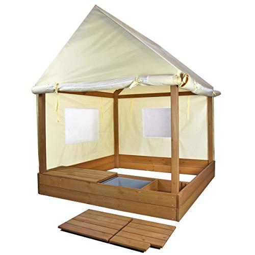 Meppi Sandkasten mit Dach und Seitenwänden - Stylische Sandkiste für Ihr Zuhause - Sandkastenhaus - Sandkasten-Pavillon mit Abdeckung