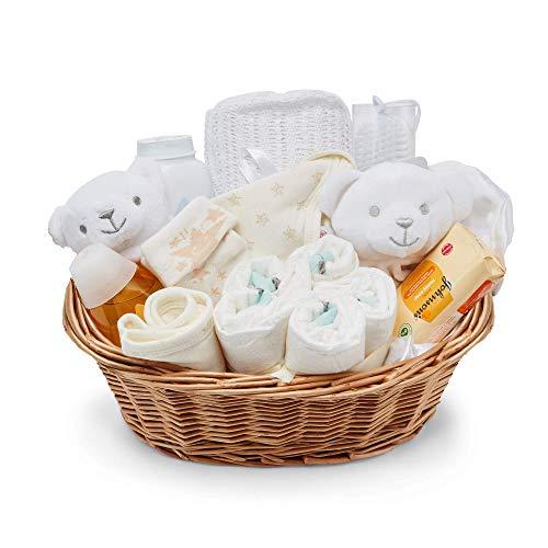 Baby Box Shop - Baby Geschenke Weidenkorb mit Baby Sachen, Notwendigen für Neugeborene, Tuch, Einhorn Schnuller und Rassel