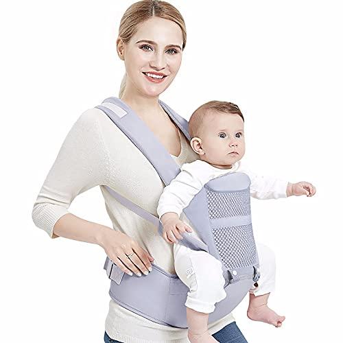 JJGS Babytrage Für Neugeborene Ab Geburt, Multifunktionaler Und Tragbarer Vier-Saison-Träger, Ergonomische Vorder- Und Rückkräfte, Geeignet Für 0-36 Monate Alte Babytrage Gray