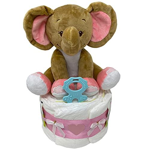 Kleine Windeltorte Kuschelelefant Emma mit Einschlafhilfe in rosa. Geschenk zur Geburt, Taufe oder Babyparty. Mädchen (Rosa / Emma)