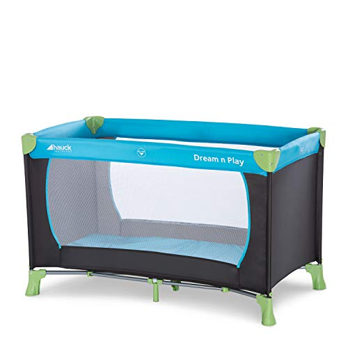 Hauck Reisebett Dream N Play / für Babys und Kinder ab Geburt bis 15 kg / 120 x 60 cm / Leicht / Kompakt Faltbar / Inkl. Trage Tasche / Blau