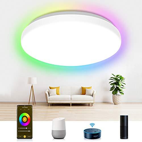 Smart LED Deckenleuchte Dimmbar, Etersky 24W Led Deckenlampe RGBW Farbwechsel, Wifi IP54 Wohnzimmerlampe Kompatibel mit Alexa/Google Home, Ideal für Schlafzimmer Kinderzimmer Badezimmer Ø35cm