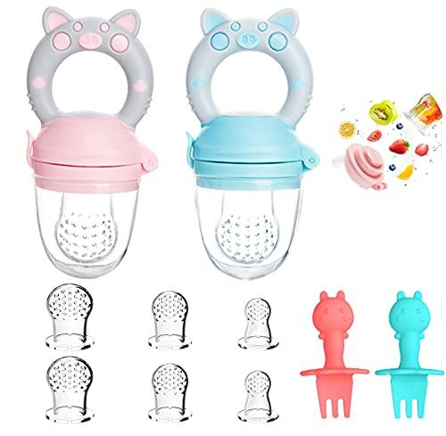 Kaiyingxin Fruchtsauger Kleinkind Baby, 2 Stück Schnuller Beißring + 8 Silikon Sauger in 3 Größen + 2 Kindergabeln, für Obst Gemüse Brei Beikost