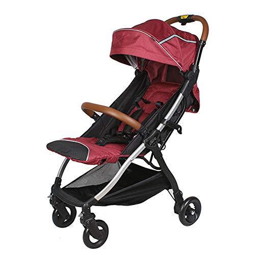 DGHJK Faltbarer Kinderwagen, mit 4 rädern, Buggy, Reisebuggy, Kinderbuggy, Regenverdeck, Einhand-Faltmechanismus, Liegefunktion,5-Punkt-Sicherheitsgurt, für ab 0 Monate -3Jahre (0-25KG)