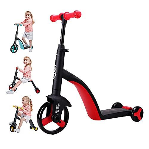 DODOBD 3 in 1 Roller Kinder Scooter Kinderroller Kinderscooter Balance Auto, Dreirad Scooter Kinder mit 3 PU Räder,Höhenverstellbar Kinder Roller für ab 2-12 Jahre Jungen und Mädche,90kg