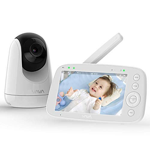 Babyphone mit Kamera, VAVA 5 Zoll Video Baby Monitor 720P IPS HD Display, Nachtsicht, 110 ° Weitwinkel, 300M Reichweite, Zwei Wege Audio, 4500 mAh Akku, Temperatursensor, Ein-Klick-Zoom Funktion