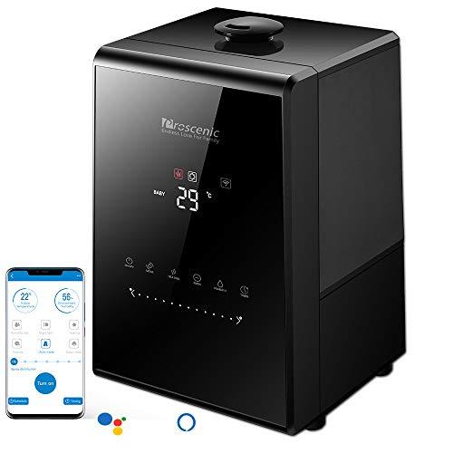 Proscenic 808C WLAN Luftbefeuchter Raumbefeuchter mit APP& Alexa Steuerung, Touchscreen, 5.3L Warm/Kalt Dampf mit Dual 360° drehbare Dampfdüsen, Aroma-Diffusor für Schlafzimmer bis 40-60m²