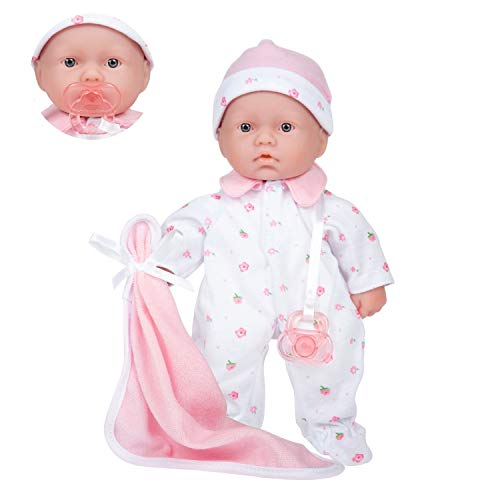 JC Toys – La Baby Puppe mit weichem Körper, 27,9 cm, waschbar, abnehmbar, Rosa, mit Hut und Decke, für Kinder ab 12 Monaten