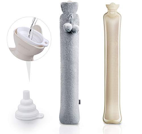 Lange Wärmflasche mit Bezug, 2 Liter Wärmflasche mit weichem Bezug 73cm Wärmekissen flaschen für Babys, mit einem Wassertrichter und einem weichen Plüschbezug für Nacken und Schulter