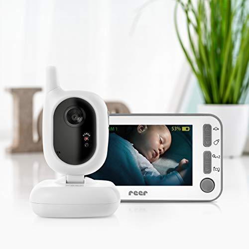 reer 80430 BabyCam Video Babyphone L, 300m Reichweite, 50 Grad Weitwinkel-Kamera, 4,3' TFT Display, mit Bewegungs-Alarm, weiß