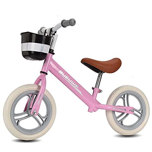 Laufrad 12 Zoll Für Kinder Ohne Pedale Hoher Kohlenstoffstahlkörper, 12 Zoll Foam Reifen Laufrad Kinder Fahrrad Kinderlaufrad Lernlaufrad Lauflernrad Für 1-6 Jahre (B pink)