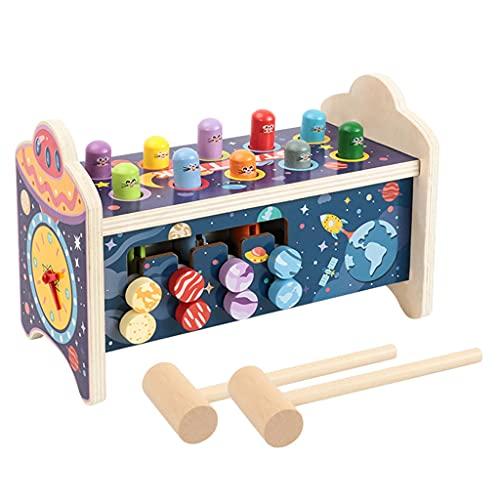 MIORIO Klassifizierte Labyrinth-Spiele aus Holz mit Klopfbank Montessori-Spielzeug für Kleinkinder und Freunde Interaktive Spiele