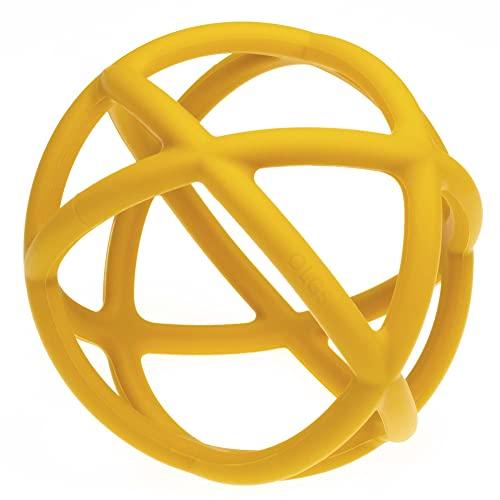 Silikon Greifball für Babys & Kleinkinder | Pastell Greifling Beißring Motorikball für leichtes greifen | BPA-frei und einfach zu reinigen | Greifball für Junge / Mädchen (Mustard)