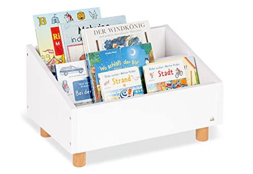 Pinolino Kinderbücherregal Ando aus MDF, 2 Fächer, runden Holzfüßen für Kinder ab 3 Jahren, weiß
