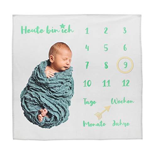 Baby-Decke Meilensteindecke Monatsdecke Fotodecke für Baby Milestone Fotografie-Requisiten Hintergrund-Tuch Deutsch 100x100cm (weiß/grüne Schrift)