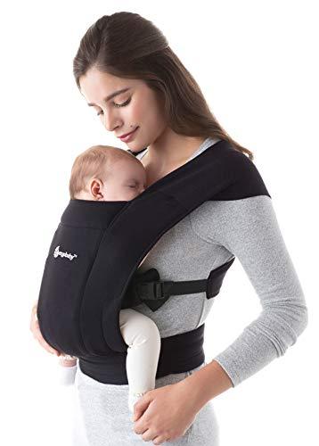 Ergobaby Babytrage für Neugeborene ab Geburt Extra Weich, Embrace Bauchtrage Baby-Tragetasche Ergonomisch, Schwarz